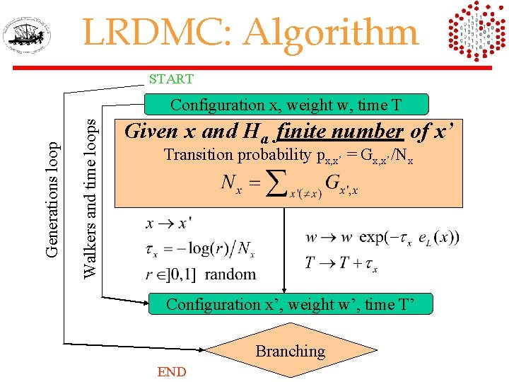 LRDMC: Algorithm START Walkers and time loops Generations loop Configuration x, weight w, time