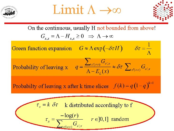 Limit L On the continuous, usually H not bounded from above! Green function expansion