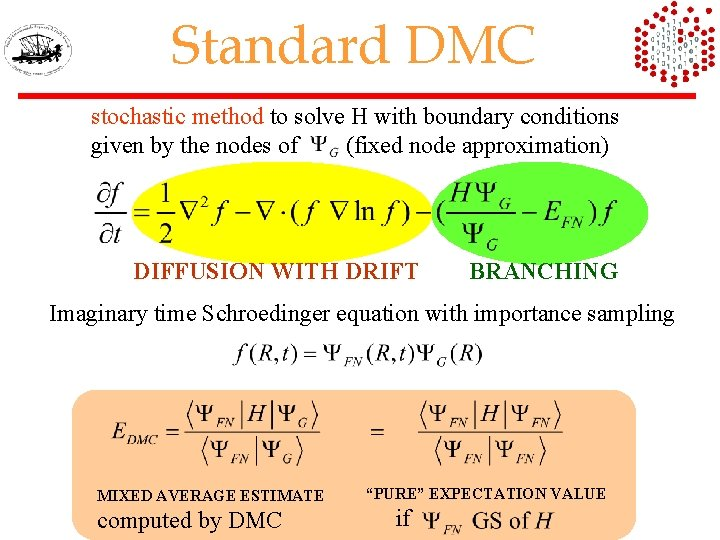 Standard DMC stochastic method to solve H with boundary conditions given by the nodes