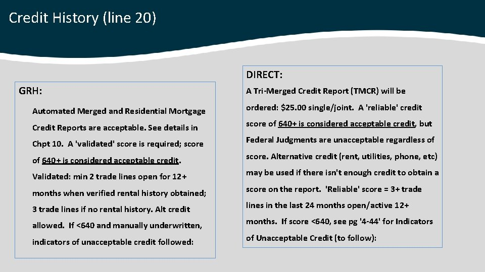 Credit History (line 20) DIRECT: GRH: A Tri-Merged Credit Report (TMCR) will be Automated