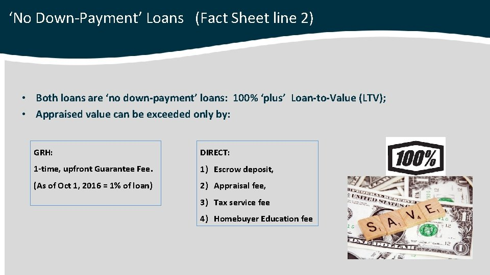 'No Down-Payment' Loans (Fact Sheet line 2) • Both loans are 'no down-payment' loans: