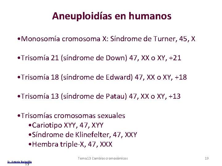 Aneuploidías en humanos • Monosomía cromosoma X: Síndrome de Turner, 45, X • Trisomía