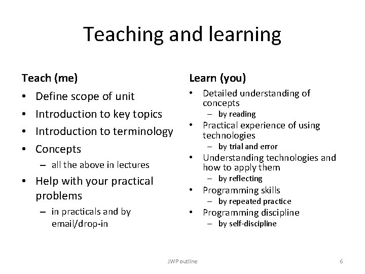 Teaching and learning Teach (me) • • Learn (you) Define scope of unit Introduction