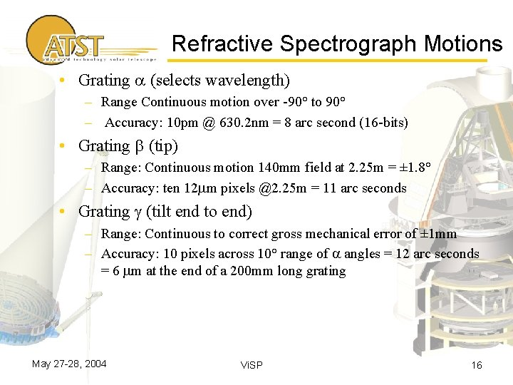 Refractive Spectrograph Motions • Grating a (selects wavelength) – Range Continuous motion over -90°