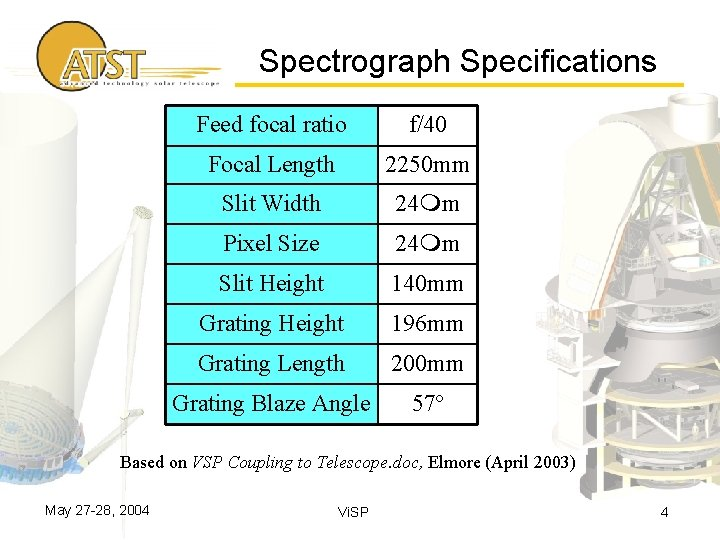 Spectrograph Specifications Feed focal ratio f/40 Focal Length 2250 mm Slit Width 24 mm