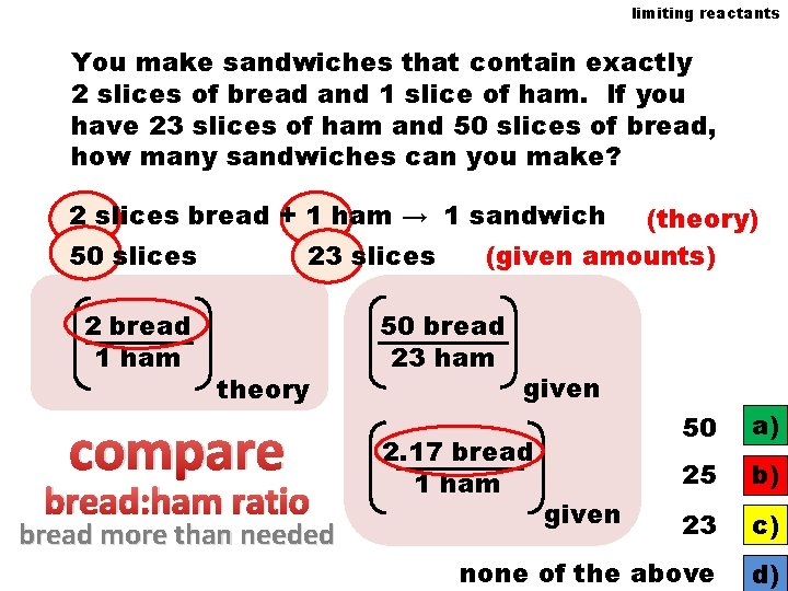 limiting reactants You make sandwiches that contain exactly 2 slices of bread and 1