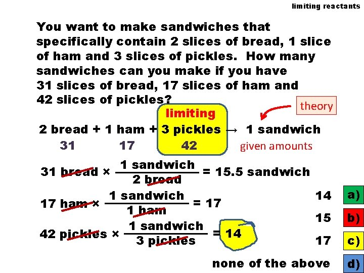limiting reactants You want to make sandwiches that specifically contain 2 slices of bread,