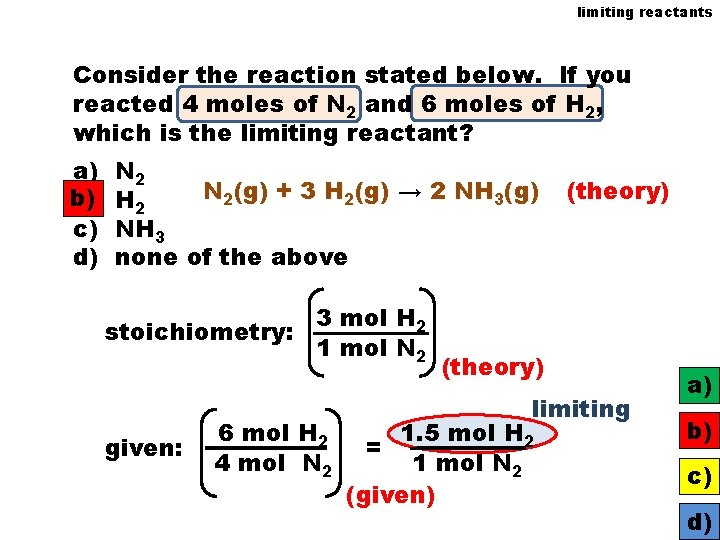 limiting reactants Consider the reaction stated below. If you reacted 4 moles of N