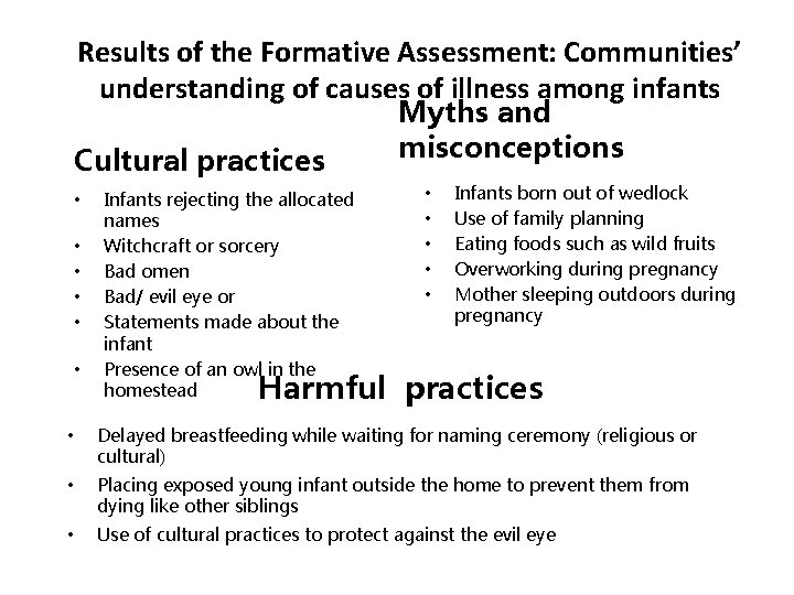 Results of the Formative Assessment: Communities' understanding of causes of illness among infants Cultural