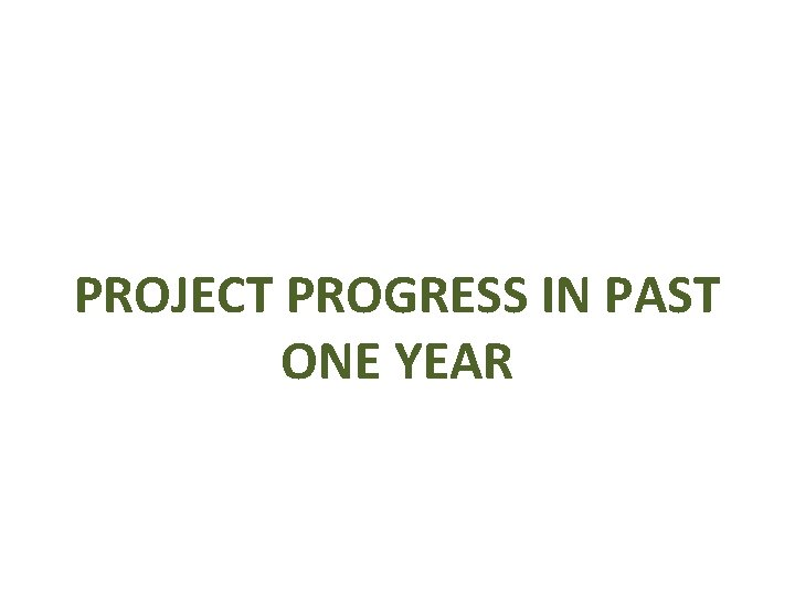 PROJECT PROGRESS IN PAST ONE YEAR