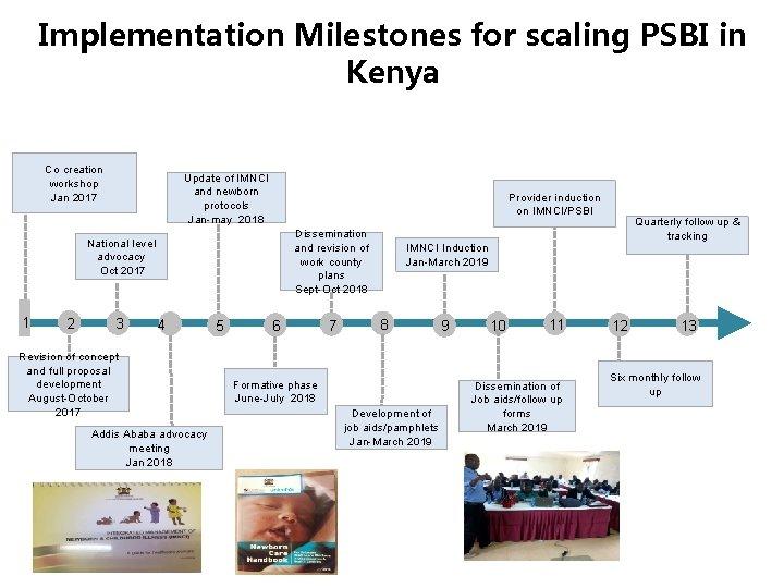 Implementation Milestones for scaling PSBI in Kenya Co creation workshop Jan 2017 Update of