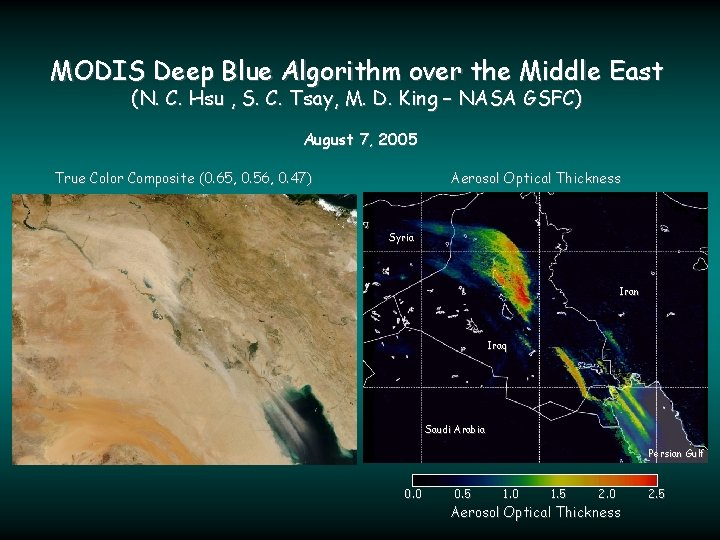 MODIS Deep Blue Algorithm over the Middle East (N. C. Hsu , S. C.