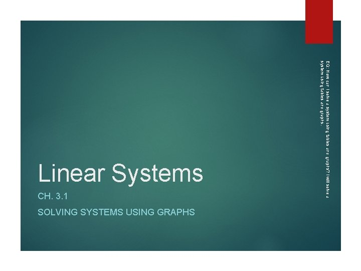 CH. 3. 1 SOLVING SYSTEMS USING GRAPHS EQ: How can I solve a system