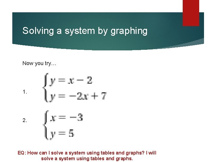 Solving a system by graphing Now you try… 1. 2. EQ: How can I