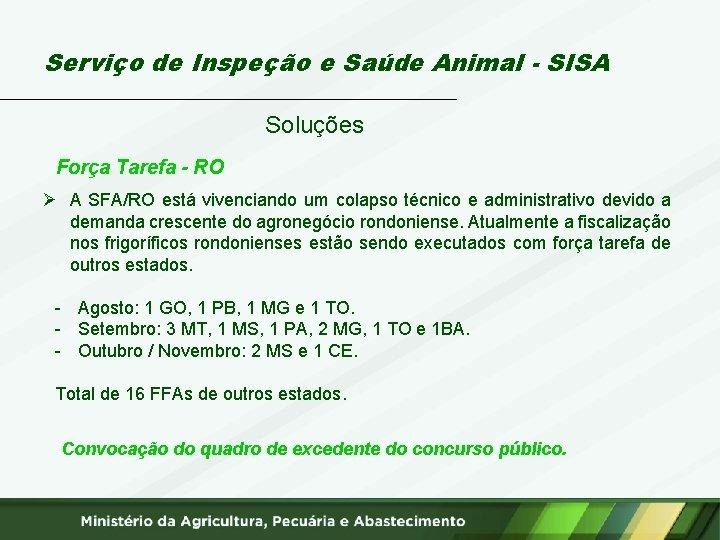 Serviço de Inspeção e Saúde Animal - SISA Soluções Força Tarefa - RO Ø