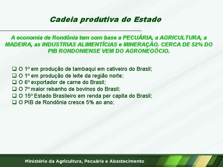 Cadeia produtiva do Estado A economia de Rondônia tem com base a PECUÁRIA, a