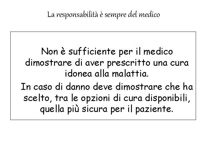 . La responsabilità è sempre del medico Non è sufficiente per il medico dimostrare