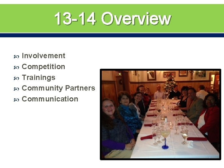 13 -14 Overview Involvement Competition Trainings Community Partners Communication