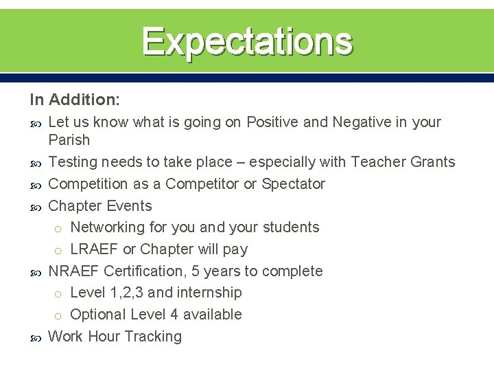Expectations In Addition: Let us know what is going on Positive and Negative in