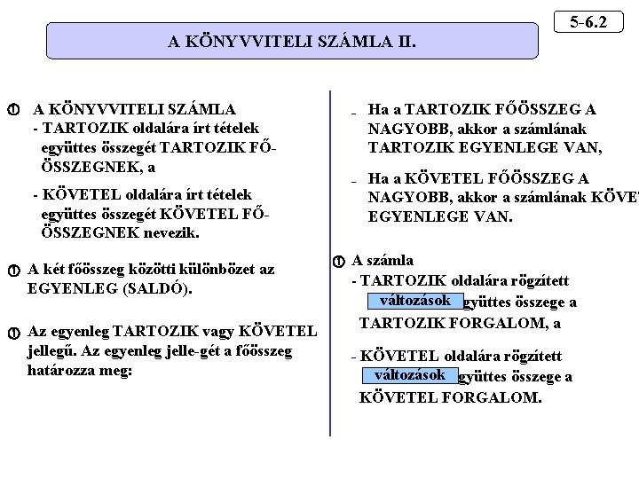 A KÖNYVVITELI SZÁMLA II. A KÖNYVVITELI SZÁMLA - TARTOZIK oldalára írt tételek együttes összegét