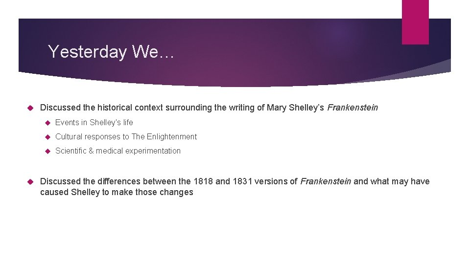 Yesterday We… Discussed the historical context surrounding the writing of Mary Shelley's Frankenstein Events