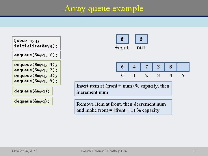 Array queue example Queue myq; initialize(&myq); 210 345 front num enqueue(&myq, 6); enqueue(&myq, dequeue(&myq);