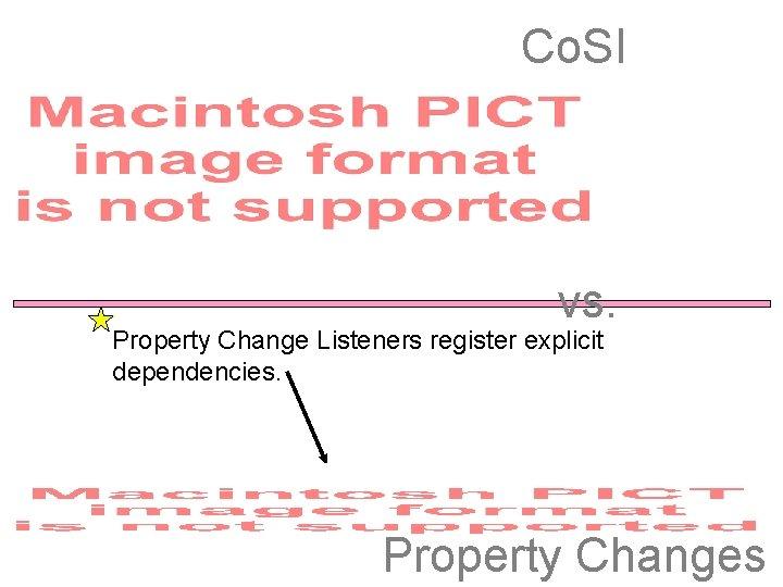 Co. SI vs. Property Change Listeners register explicit dependencies. Property Changes