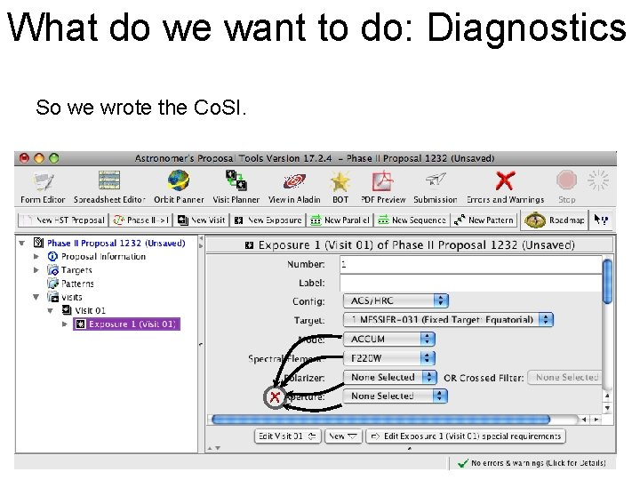 What do we want to do: Diagnostics So we wrote the Co. SI.
