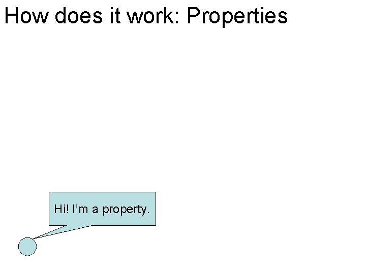 How does it work: Properties Hi! I'm a property.