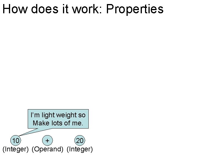 How does it work: Properties I'm light weight so Make lots of me. 10