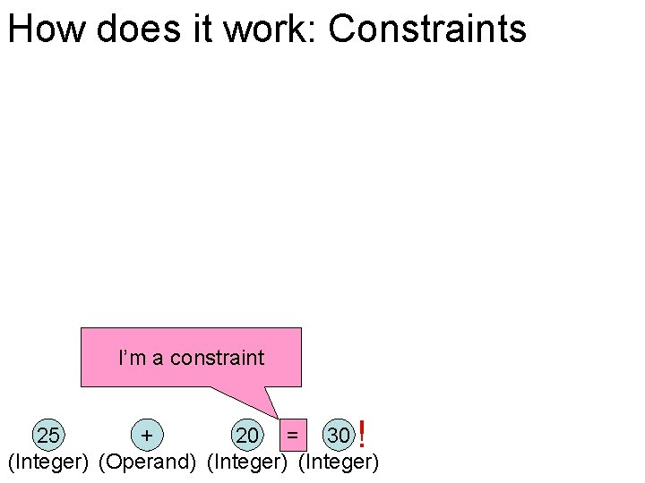How does it work: Constraints I'm a constraint ! 25 + 20 = 30