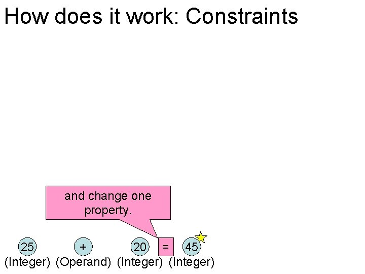 How does it work: Constraints and change one property. 25 + 20 = 45