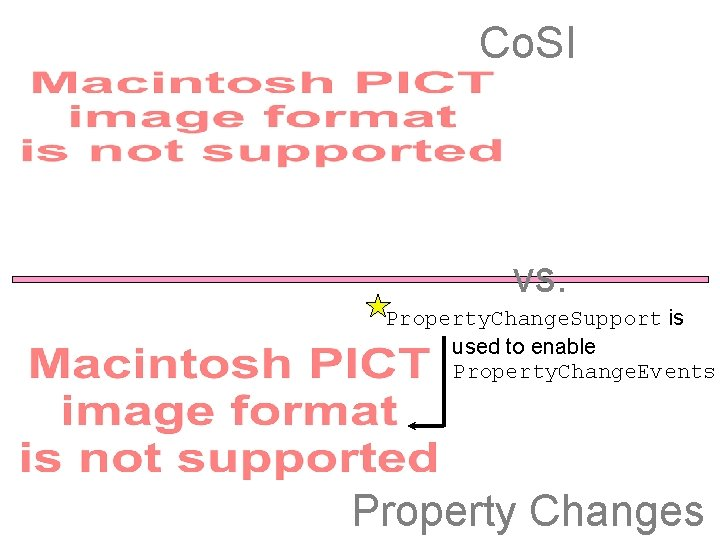 Co. SI vs. Property. Change. Support is used to enable Property. Change. Events Property