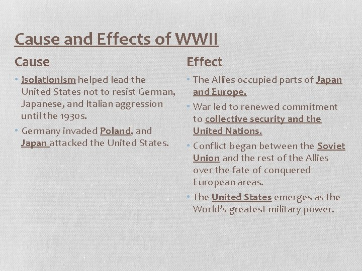 Cause and Effects of WWII Cause Effect • Isolationism helped lead the United States