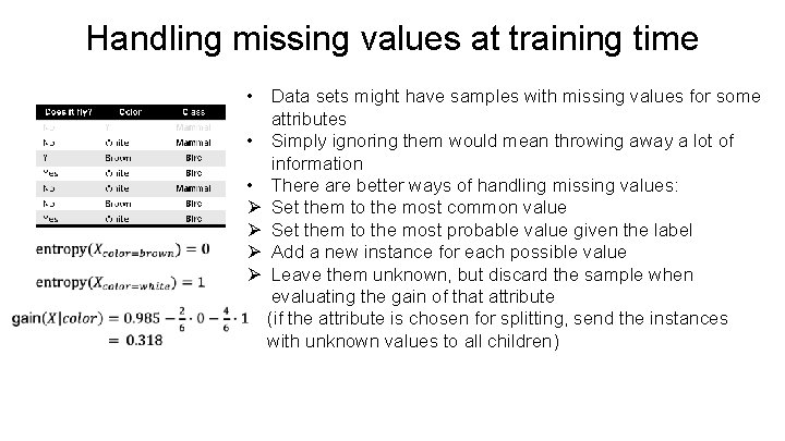 Handling missing values at training time • Data sets might have samples with missing