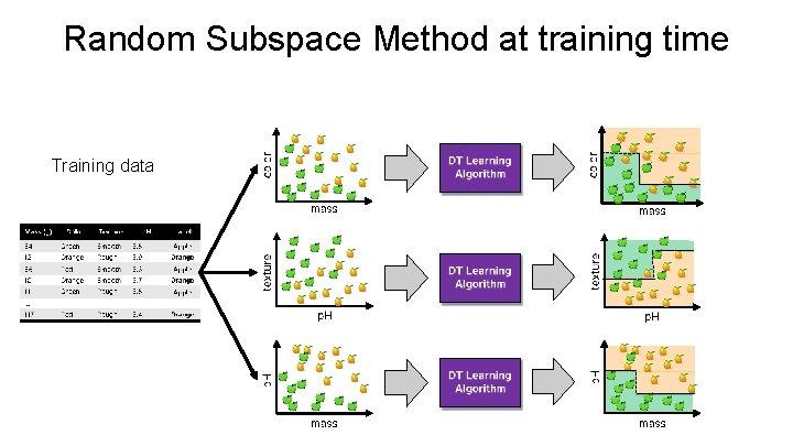 Random Subspace Method at training time Training data
