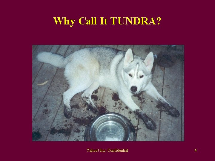 Why Call It TUNDRA? Yahoo! Inc. Confidential 4