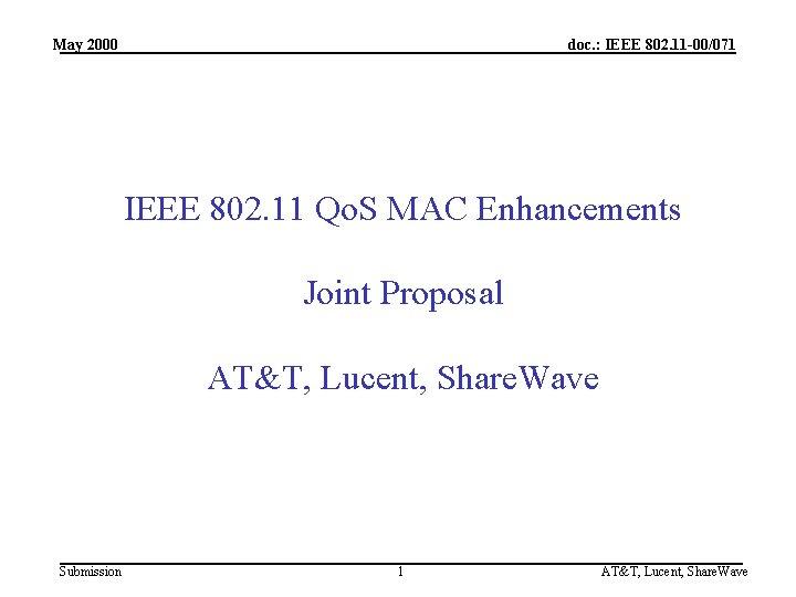 May 2000 doc. : IEEE 802. 11 -00/071 IEEE 802. 11 Qo. S MAC