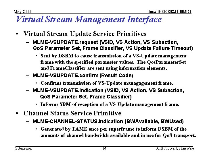 May 2000 doc. : IEEE 802. 11 -00/071 Virtual Stream Management Interface • Virtual
