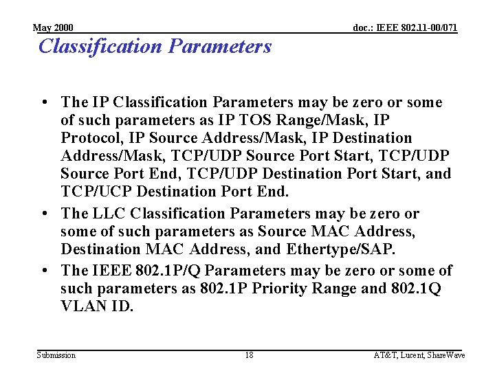 May 2000 doc. : IEEE 802. 11 -00/071 Classification Parameters • The IP Classification