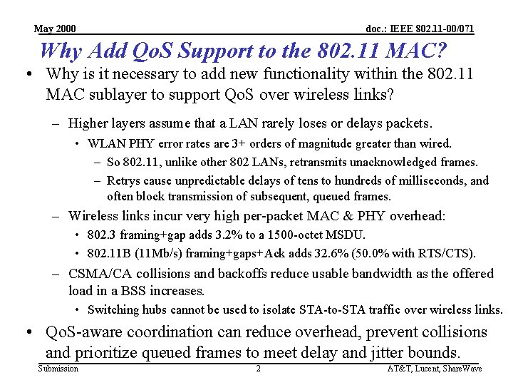 May 2000 doc. : IEEE 802. 11 -00/071 Why Add Qo. S Support to