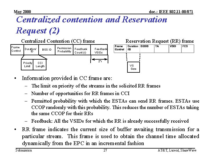 May 2000 doc. : IEEE 802. 11 -00/071 Centralized contention and Reservation Request (2)