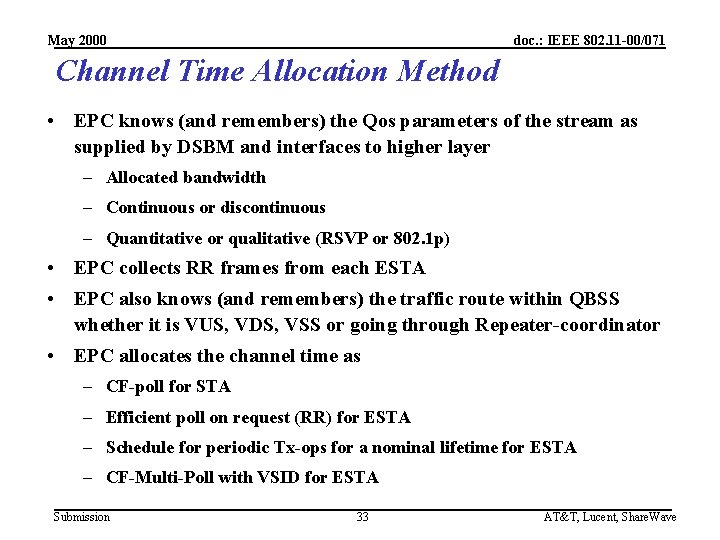 May 2000 doc. : IEEE 802. 11 -00/071 Channel Time Allocation Method • EPC