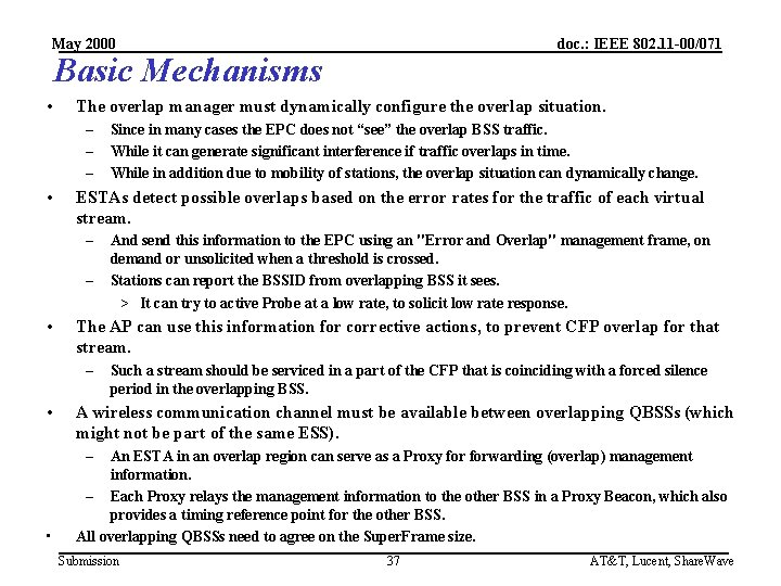 May 2000 doc. : IEEE 802. 11 -00/071 Basic Mechanisms • The overlap manager