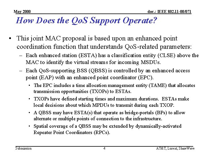 May 2000 doc. : IEEE 802. 11 -00/071 How Does the Qo. S Support