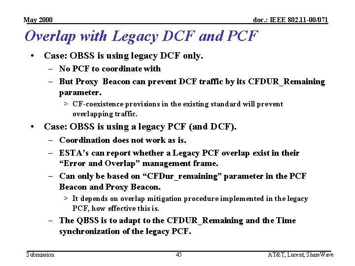 May 2000 doc. : IEEE 802. 11 -00/071 Overlap with Legacy DCF and PCF