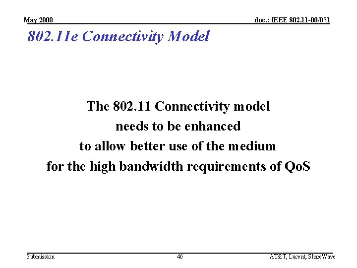 May 2000 doc. : IEEE 802. 11 -00/071 802. 11 e Connectivity Model The