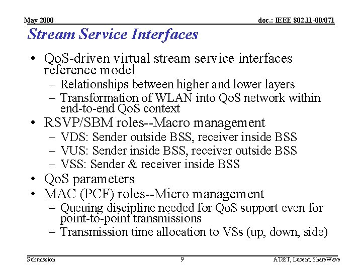 May 2000 doc. : IEEE 802. 11 -00/071 Stream Service Interfaces • Qo. S-driven
