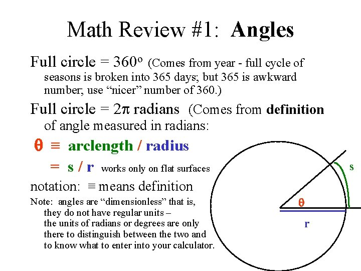 Math Review #1: Angles Full circle = 360 o (Comes from year - full