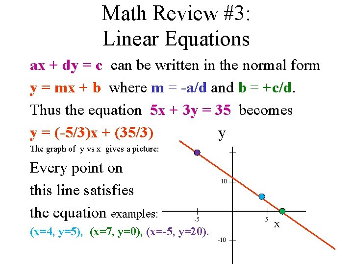 Math Review #3: Linear Equations ax + dy = c can be written in